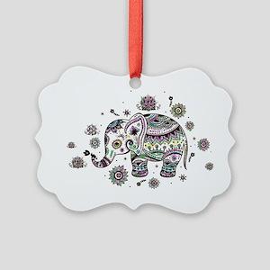 Cute Pastel Colors Floral Elephan Picture Ornament