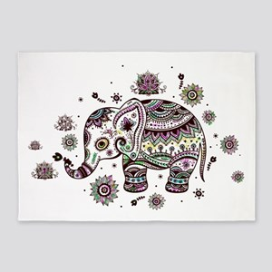 Cute Pastel Colors Floral Elephant 5'x7'Area Rug