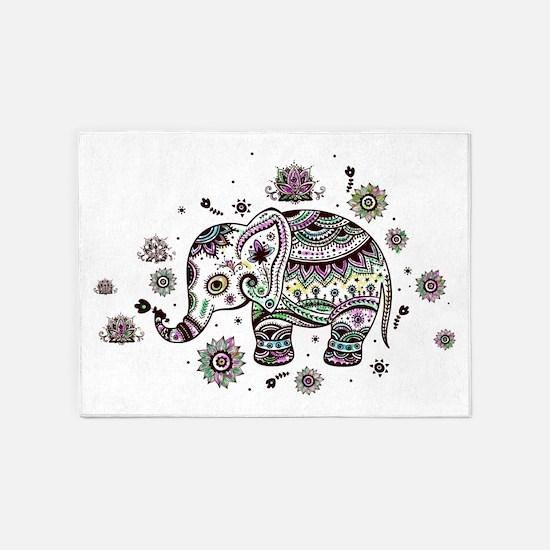 Cute Pastel Colors Floral Elephant 5'x7'Area Rug