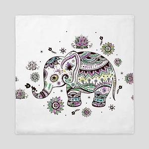 Cute Pastel Colors Floral Elephant Queen Duvet