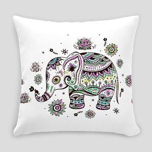 Cute Pastel Colors Floral Elephant Everyday Pillow