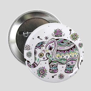 """Cute Pastel Colors Floral Elephant 2.25"""" Button"""