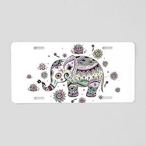Cute Pastel Colors Floral E Aluminum License Plate