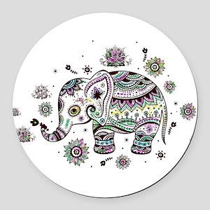 Cute Pastel Colors Floral Elephan Round Car Magnet