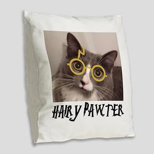 CATS - HAIRY PAWTER Burlap Throw Pillow