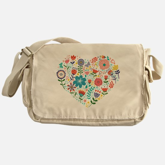 Cute Colorful Floral Heart Messenger Bag