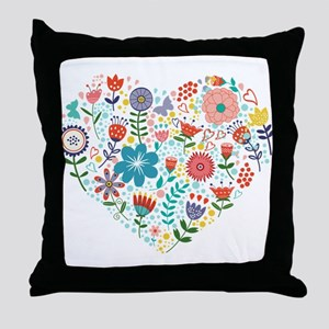 Cute Colorful Floral Heart Throw Pillow