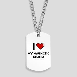 I Love My Magnetic Charm Dog Tags