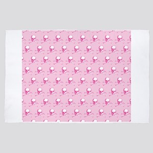 Pink Skull And Crossbones Pattern 4' x 6' Rug