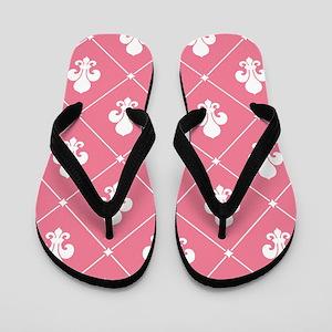 Pink Fleur De Lis Pattern Flip Flops