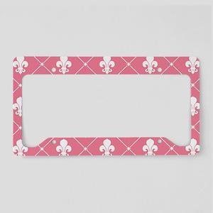 Pink Fleur De Lis Pattern License Plate Holder