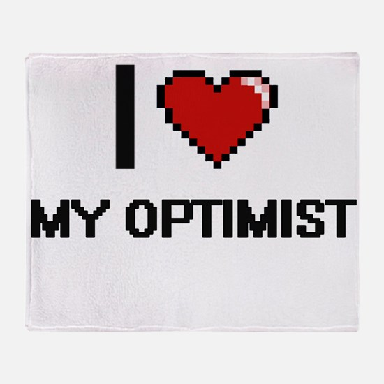 I Love My Optimist Throw Blanket