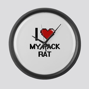 I Love My Pack Rat Large Wall Clock