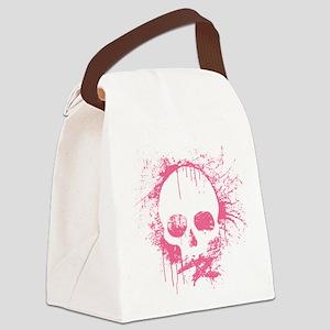 Pink Sprayed Skull Canvas Lunch Bag