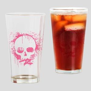 Pink Sprayed Skull Drinking Glass