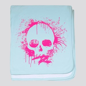 Pink Sprayed Skull baby blanket