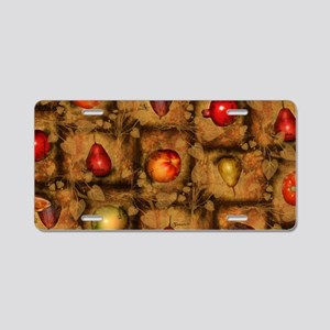 Fruit Collage Pattern Aluminum License Plate