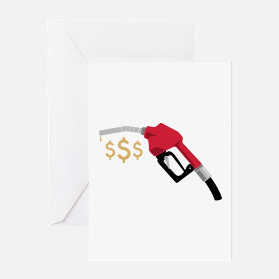 Gas Pump Money Greeting Cards
