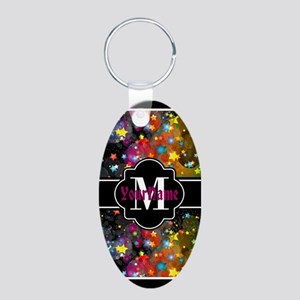 Galactic Party Stars Person Aluminum Oval Keychain
