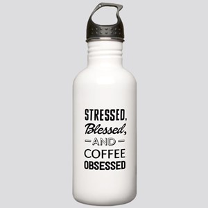 Stressed, blessed, and coffee obsessed Water Bottl