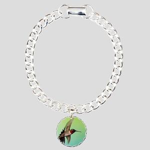 Ruby-Throated Hummingbir Charm Bracelet, One Charm