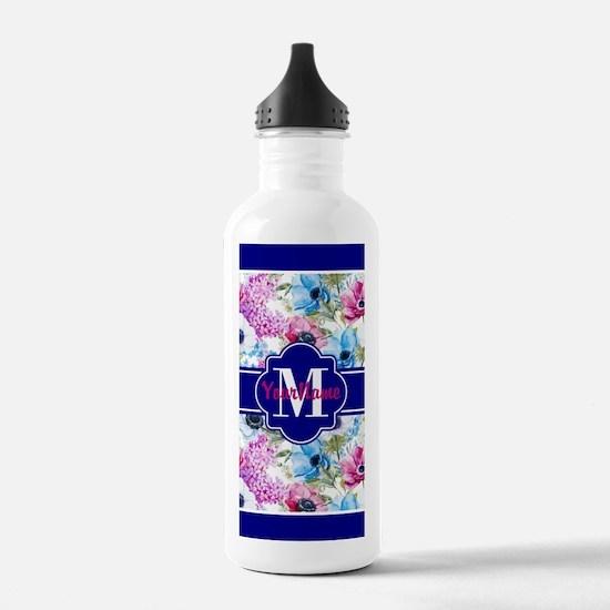 Boho Watercolor Floral Water Bottle