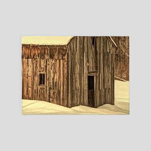 western winter old barn 5'x7'Area Rug