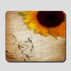 girly swirls floral sunflower Mousepad