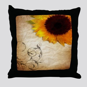 girly swirls floral sunflower Throw Pillow