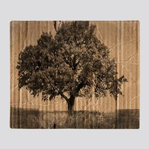 romantic landscape oak tree Throw Blanket