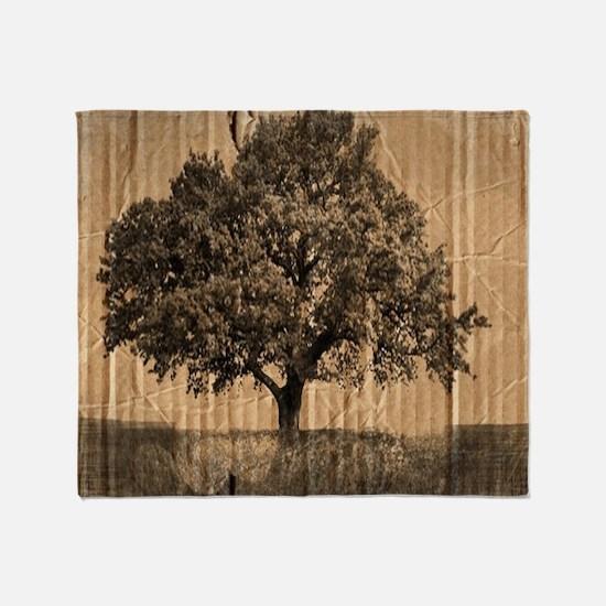 romantic landscape oak tree Throw Blanket