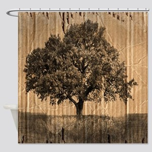 romantic landscape oak tree Shower Curtain