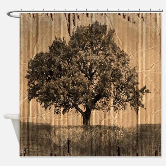 romantic landscape oak tree Shower Curtain
