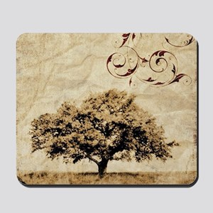 romantic landscape oak tree Mousepad