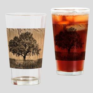 romantic landscape oak tree Drinking Glass