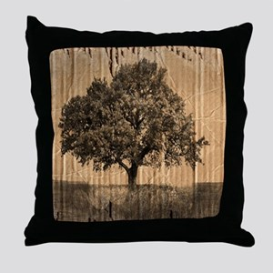 romantic landscape oak tree Throw Pillow