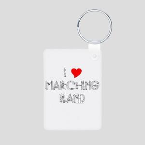I Love Marching Band Aluminum Photo Keychain