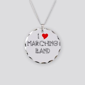 I Love Marching Band Necklace Circle Charm