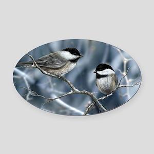 chickadee song bird Oval Car Magnet