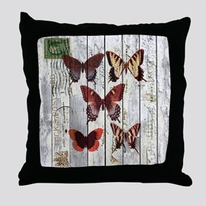 shabby chic french butterfly Throw Pillow