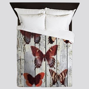 shabby chic french butterfly Queen Duvet
