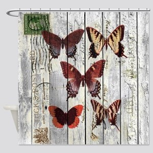 shabby chic french butterfly Shower Curtain