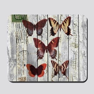 shabby chic french butterfly Mousepad