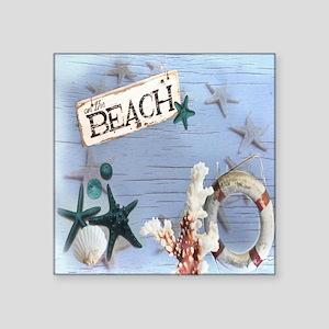 """beach coral sea shells  Square Sticker 3"""" x 3"""""""