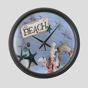 beach coral sea shells  Large Wall Clock