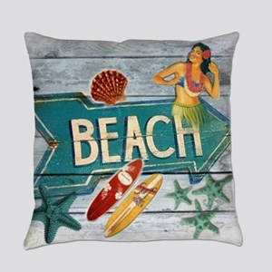 surf board hawaii beach  Everyday Pillow