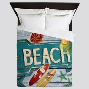 surf board hawaii beach  Queen Duvet