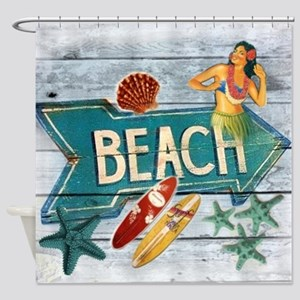 surf board hawaii beach  Shower Curtain
