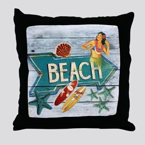 surf board hawaii beach  Throw Pillow