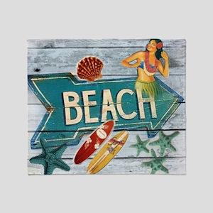 surf board hawaii beach  Throw Blanket